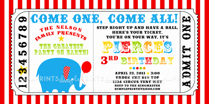 Carnival Ticket Invitation Template Free New Circus Carnival Ticket Printable Invite Dimple Prints Shop