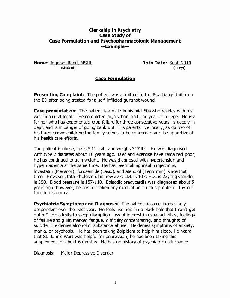 Case Study format Elegant Case Study Example Clerkship In Psychiatry
