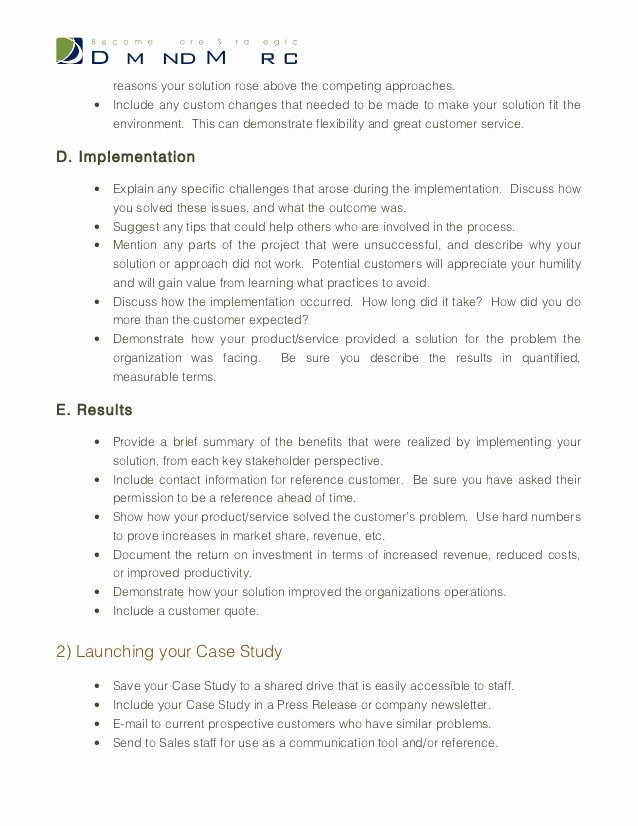 Case Study format Fresh Case Study Template