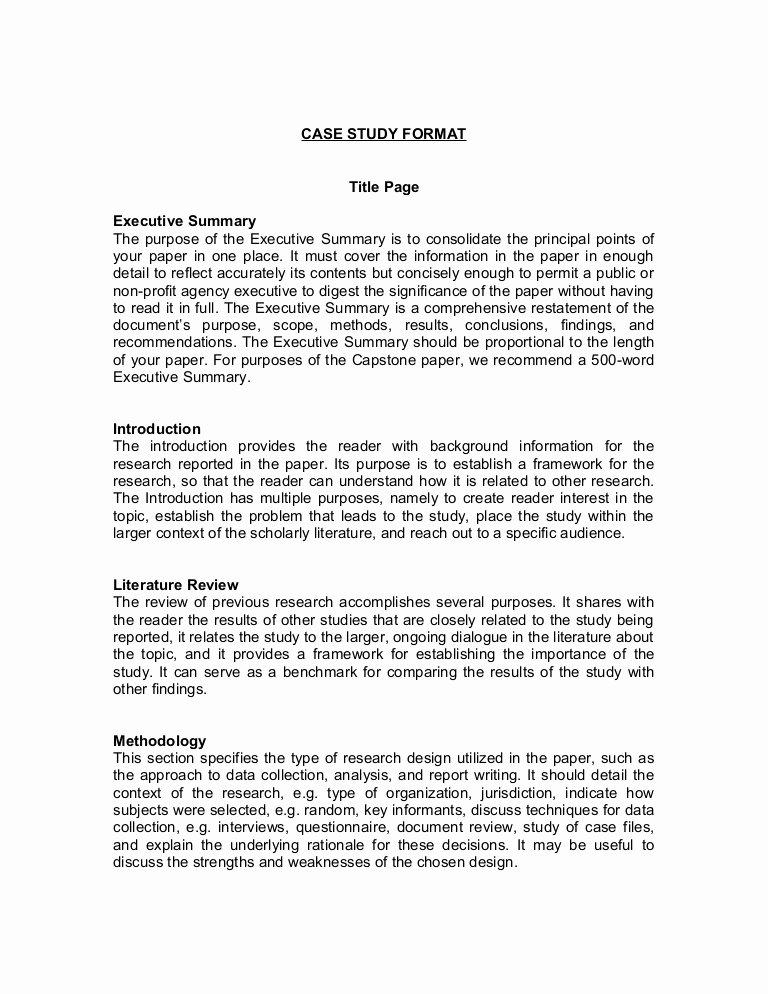 Case Study format Inspirational Case Study format
