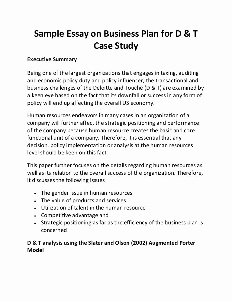 sample essay on business plan for d t case study