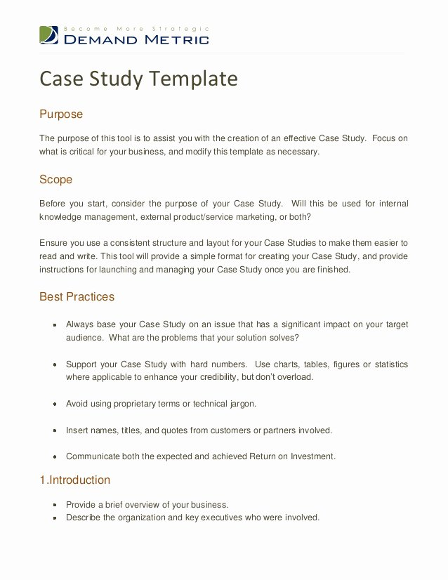 Case Study format New Case Study Template