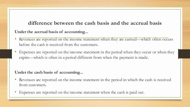 Cash Basis Income Statement Example New Accrual Accounting