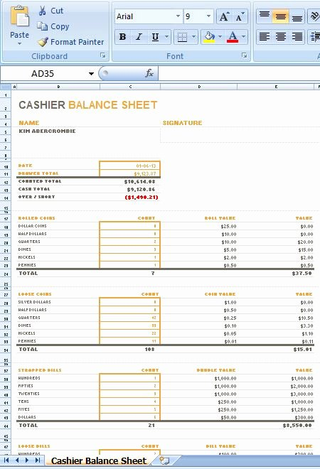 Cash Drawer Check Out Sheet Elegant Sample Ms Excel Cashier Balance Sheet Template