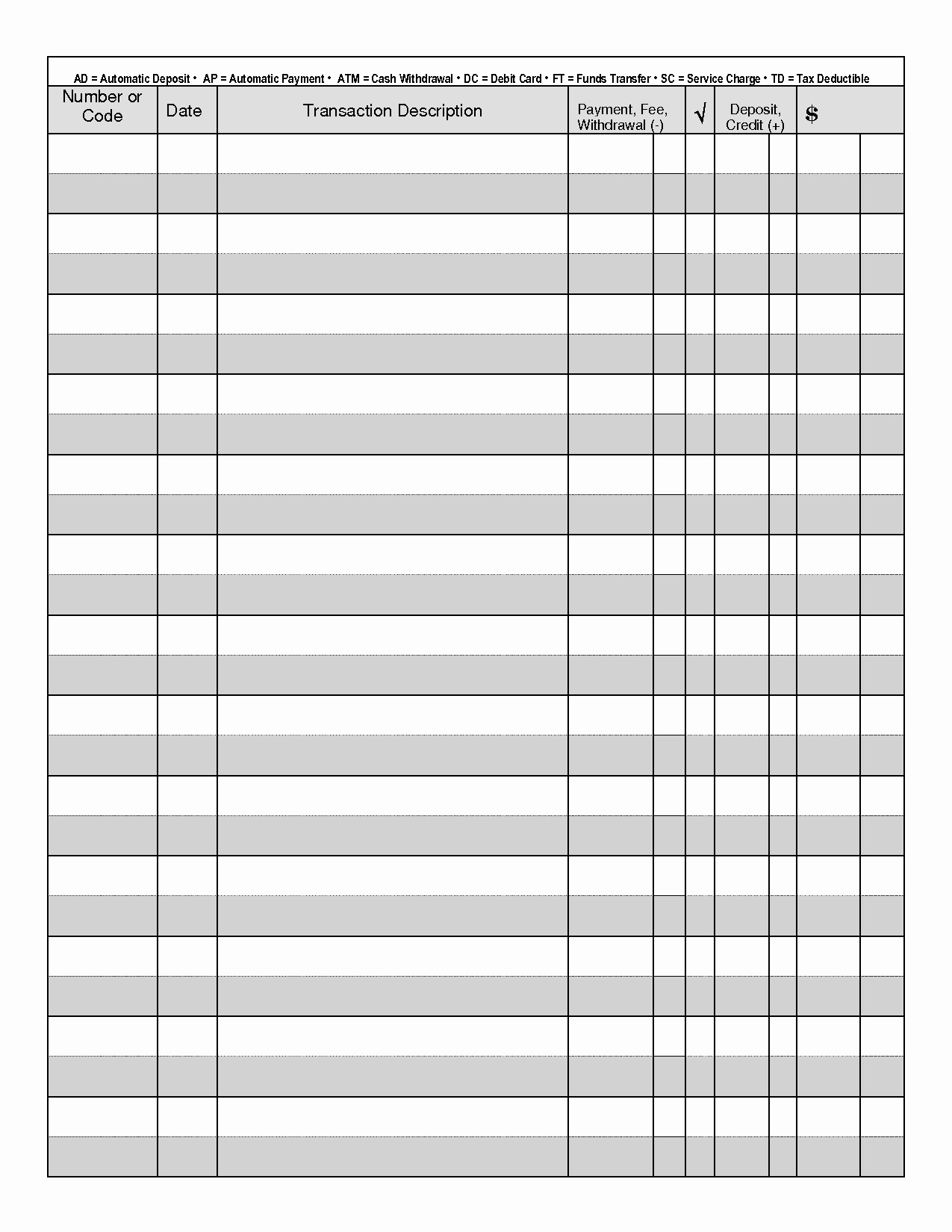 Cash Drawer Check Out Sheet Unique Printable Check Register when You are Searching for