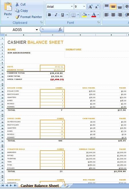 Cash Drawer Count Sheet Excel Inspirational Cash Drawer Count Sheet Excel Petty Cash Register