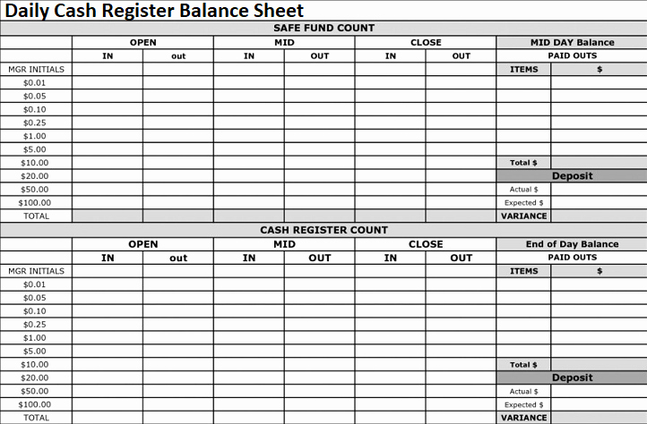 Cash Register Count Sheet Fresh Daily Cash Register Balance Sheet Excel format