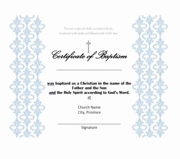 Catholic Baptism Certificate Template Beautiful 47 Baptism Certificate Templates Free Printable Templates