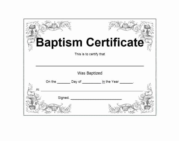 Catholic Baptism Certificate Template Lovely 47 Baptism Certificate Templates Free Printable Templates