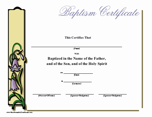 Catholic Baptismal Certificate Template Best Of Baptism Certificate Printable Certificate