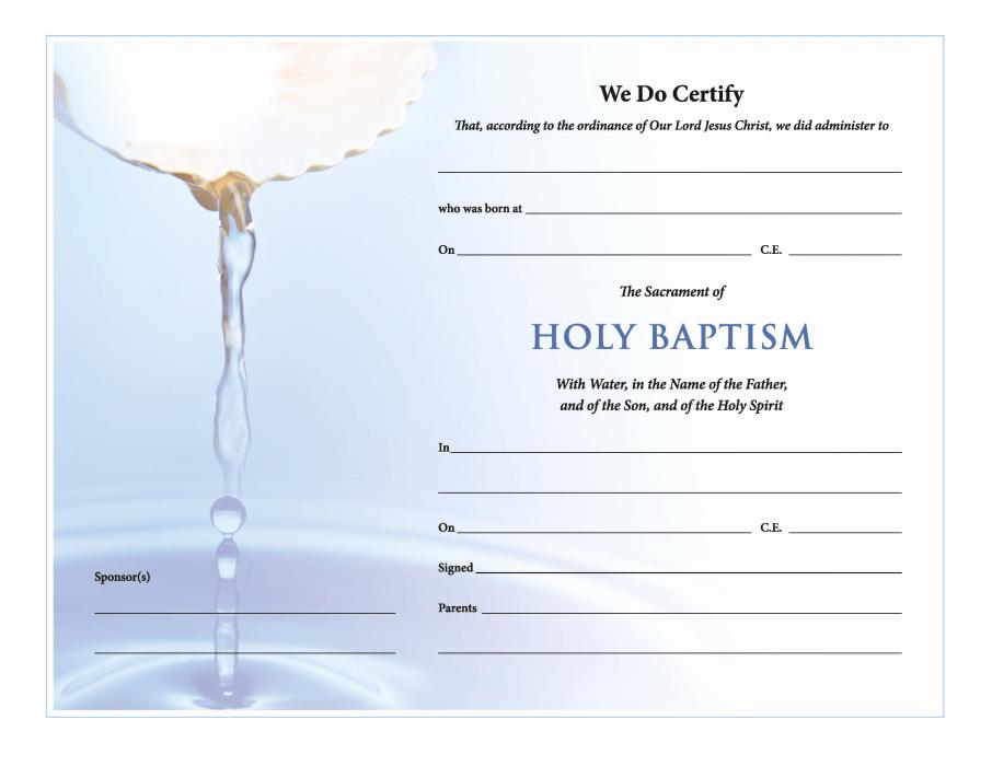 Catholic Baptismal Certificate Template Elegant Churchpublishing Holy Baptism Certificate Download
