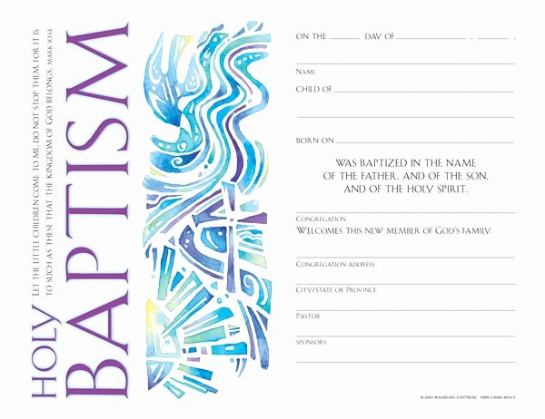 Catholic Baptismal Certificate Template Inspirational Child's Baptism Certificate