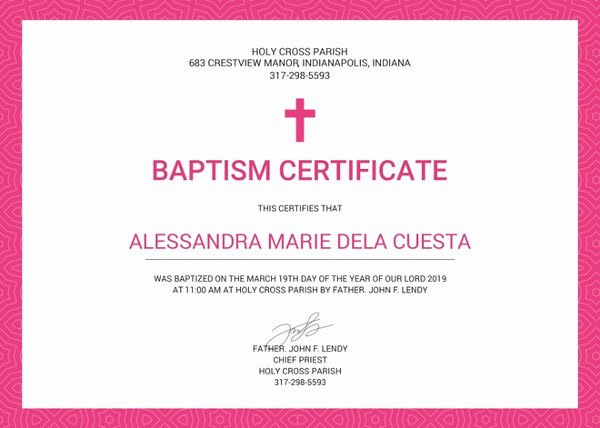 Catholic Baptismal Certificate Template Lovely Baptism Certificate Template 10 Free Pdf Documents