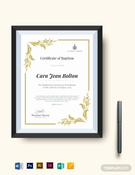 Catholic Baptismal Certificate Template Luxury Sample Baptism Certificate 23 Documents In Pdf Word Psd