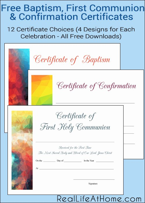 Catholic Confirmation Certificate Template Elegant Free Printable Baptism First Munion and Confirmation