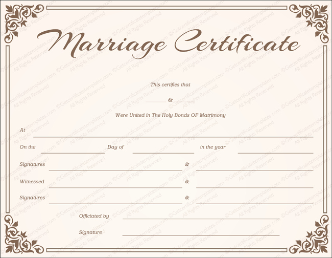 Catholic Marriage Certificate Template Awesome Marriage Certificate Template 22 Editable for Word