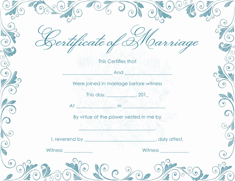 Catholic Marriage Certificate Template Beautiful Classic Bluish Marriage Certificate Template