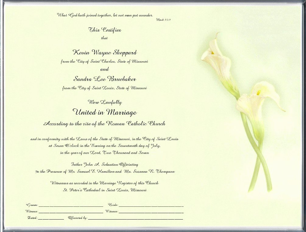 Catholic Marriage Certificate Template Elegant Catholic Marriage Certificates Page 2 Floral