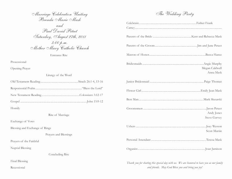 Catholic Marriage Certificate Template Fresh Catholic Wedding Program Template 2