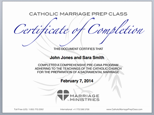 Catholic Marriage Certificate Template Fresh tour the Course Catholic Marriage Prep Class