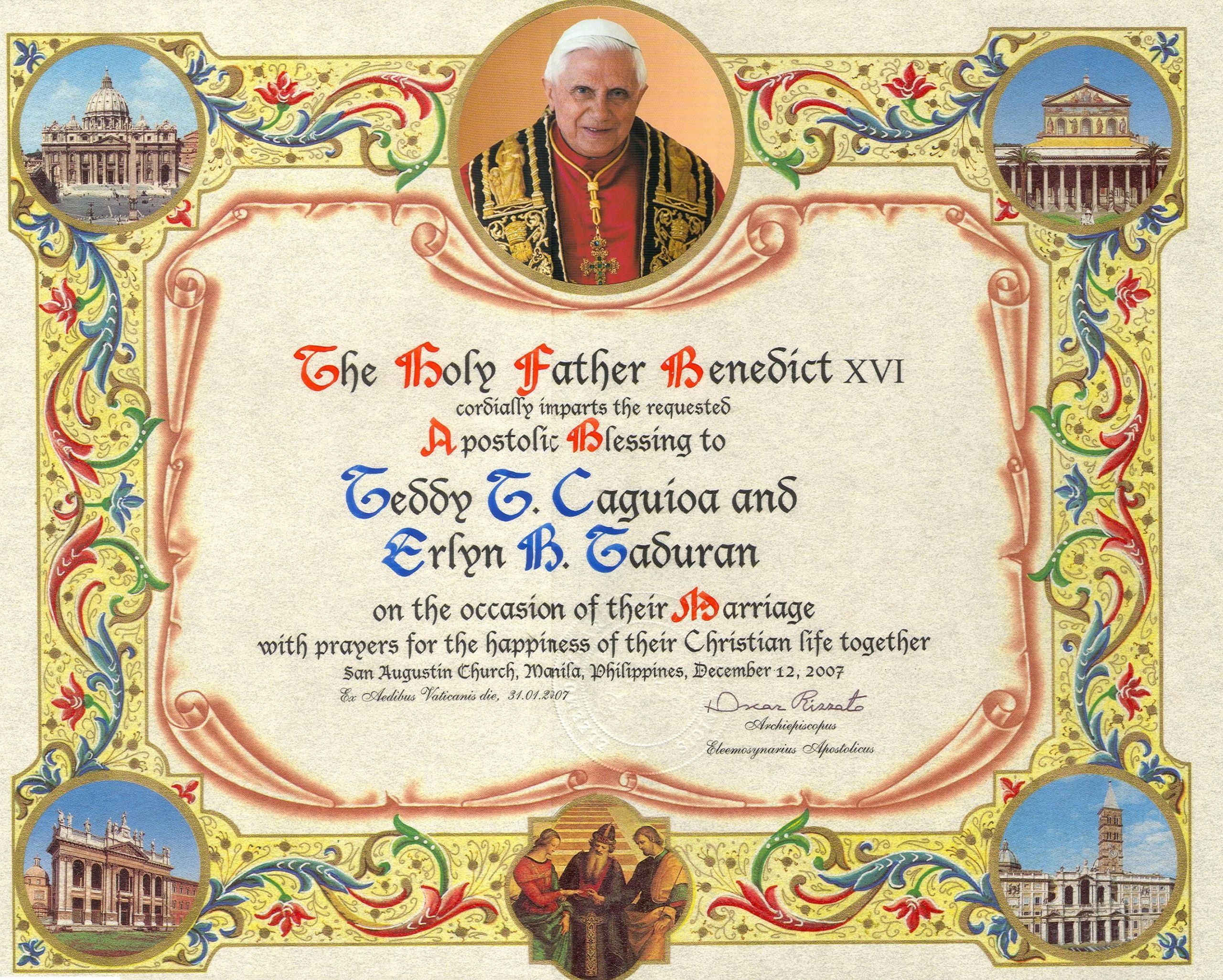 Catholic Marriage Certificate Template New Catholics Can A Papal Wedding Blessing From the Holy