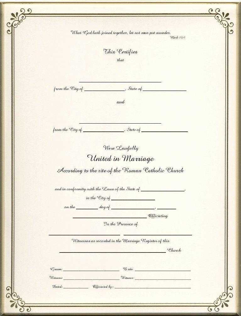 Catholic Marriage Certificate Template Unique Catholic Marriage Certificates Page 1 Foil