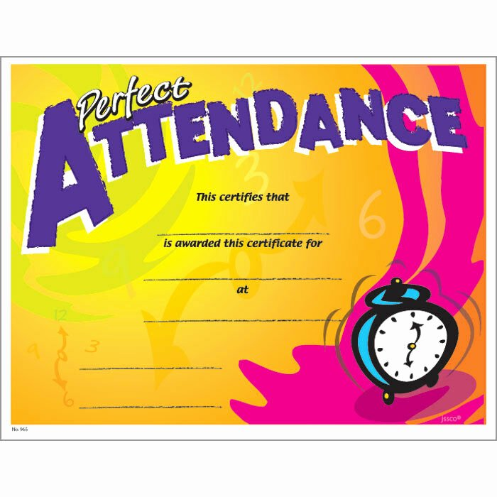 Certificate for Perfect attendance Awesome Perfect attendance Certificate Pack Of 15