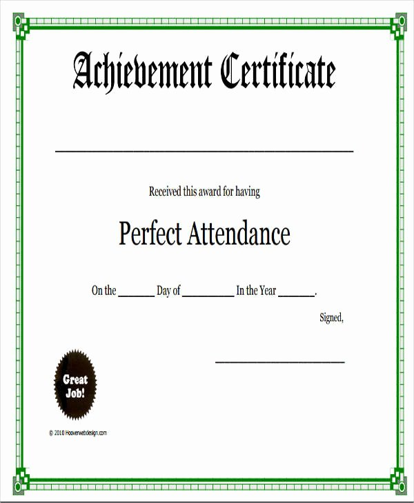 Certificate for Perfect attendance Beautiful 32 Free Award Certificate