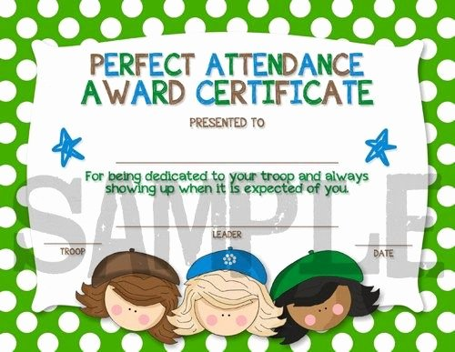 Certificate for Perfect attendance Beautiful Scouts Perfect attendance Award Certificiate Diy