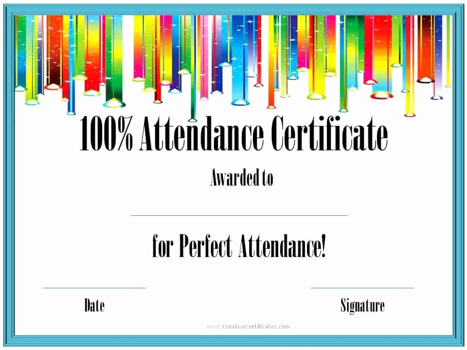 Certificate for Perfect attendance Fresh Perfect attendance Award Certificates