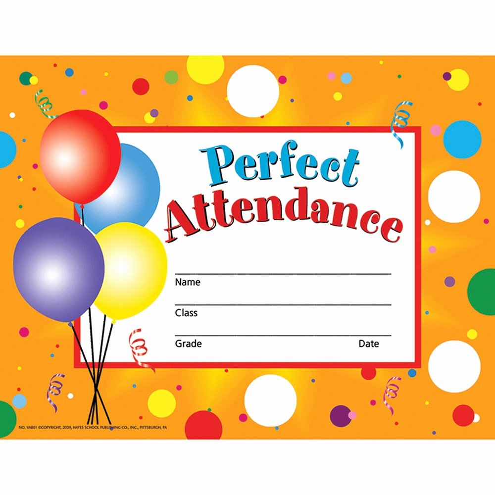 Certificate for Perfect attendance Luxury Perfect attendance 30 Set H Va801