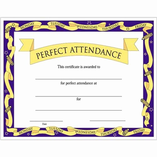 "Certificate for Perfect attendance Luxury Perfect attendance Certificates 8 1 2"" X 11"""