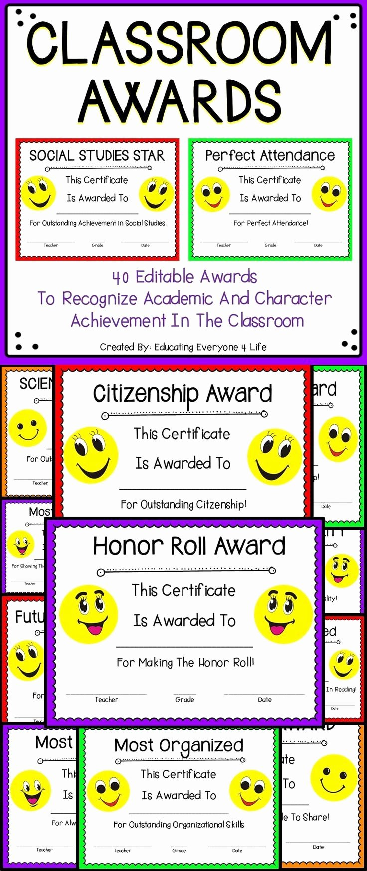 Certificate Ideas for Students Fresh End Of Year Classroom Awards Emoji theme Awards for the