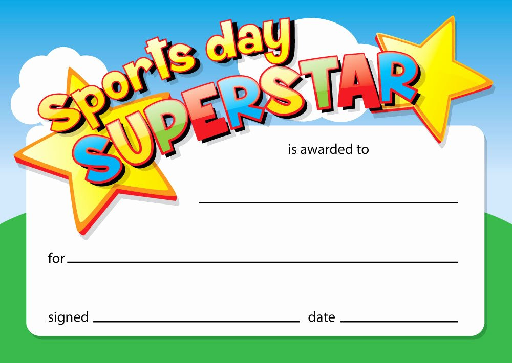 Certificate Ideas for Students Inspirational Sports Day Superstar 16 X A6 Card Certificates