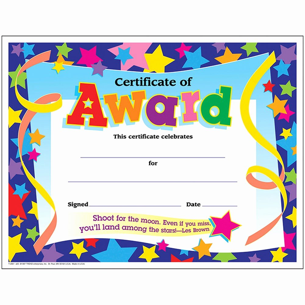 Certificate Ideas for Students Unique Certificate Award Stars 30 Pk 8 1 2 X 11 T 2951