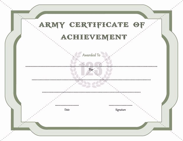 Certificate Of Achievement Army form Awesome Army Certificate Of Achievement Template 123certificate