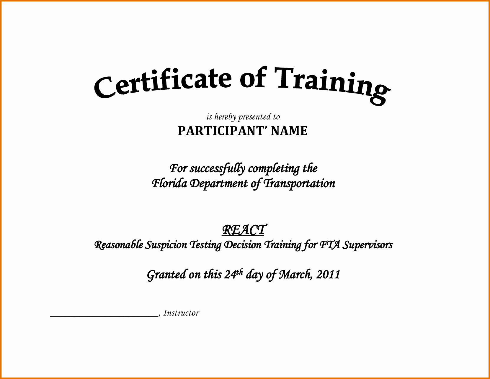 Certificate Of Achievement Army form Awesome Training Certificate Template Doc