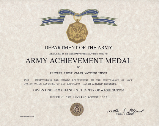 Certificate Of Achievement Army form Best Of Army Achievement Medal Certificate