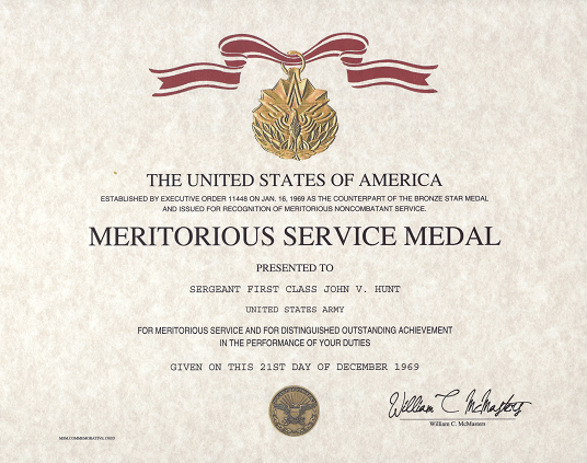 Certificate Of Achievement Army form Fresh Meritorious Service Medal Certificate