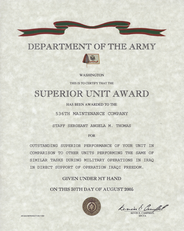 Certificate Of Achievement Army form Lovely Army Superior Unit Award Certificate Replacement Certificate