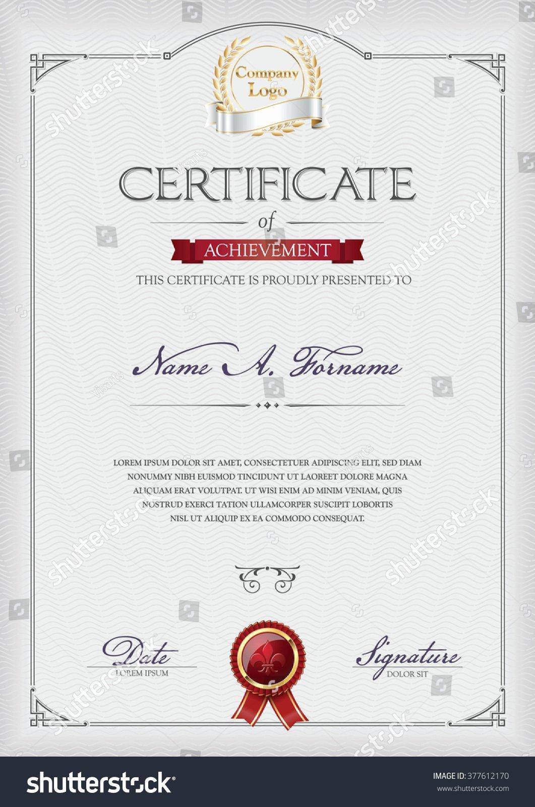 Certificate Of Achievement Frame Beautiful Certificate Achievement Portrait Vintage Frame Stock