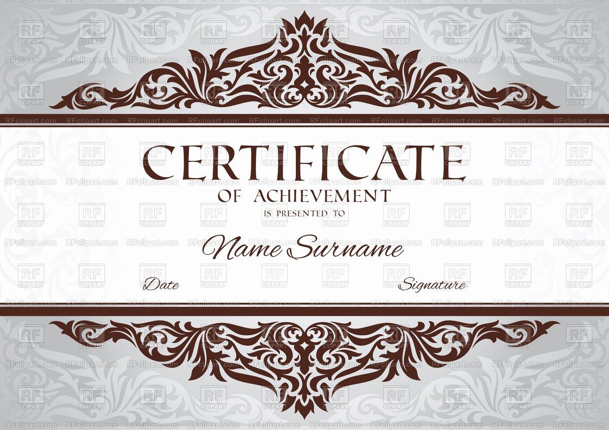 Certificate Of Achievement Frame Beautiful Certificate Of Achievement Template with Floral Vintage