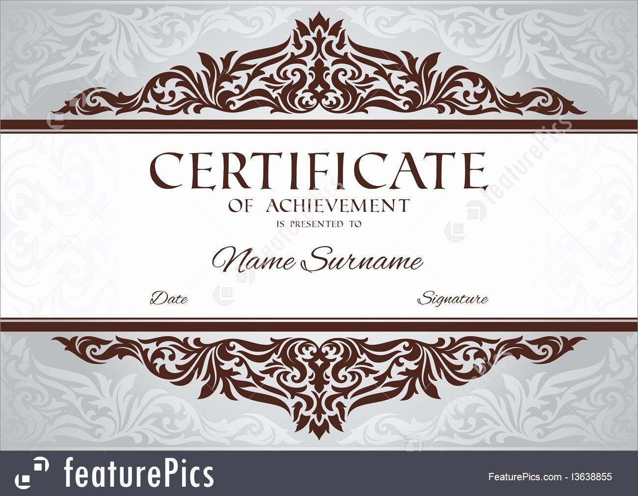 Certificate Of Achievement Frame Beautiful Templates Certificate Achievement Stock Illustration