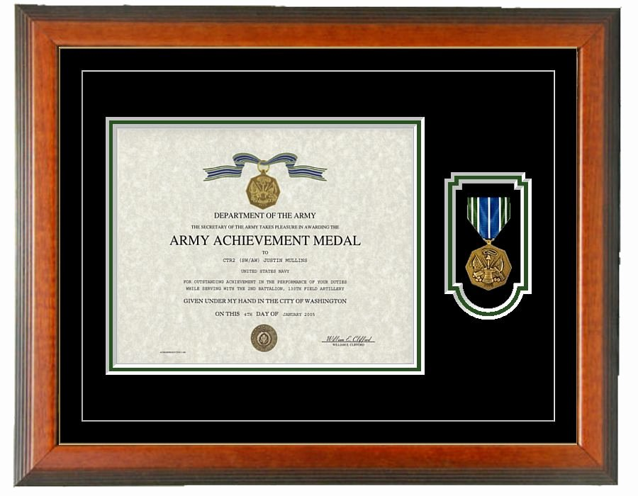 Certificate Of Achievement Frame Best Of Army Achievement Certificate Frame Horizontal