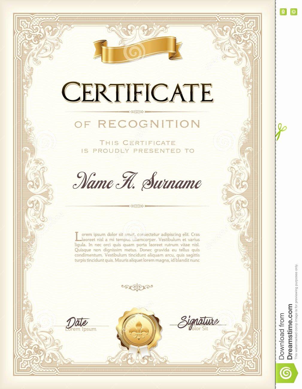 Certificate Of Achievement Frame Elegant Certificate Achievement Vintage Frame with Gold Ribbon