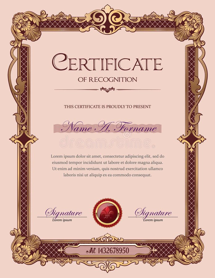 Certificate Of Achievement Frame Inspirational Certificate Achievement Vintage Frame Landscape Stock