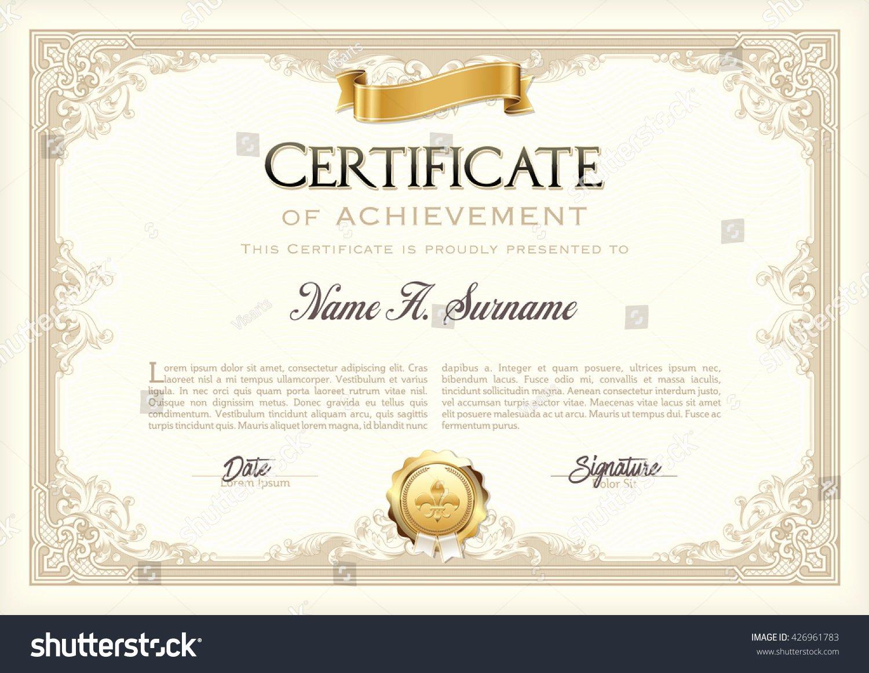 Certificate Of Achievement Frame Luxury Certificate Achievement Vintage Frame Gold Ribbon Stock
