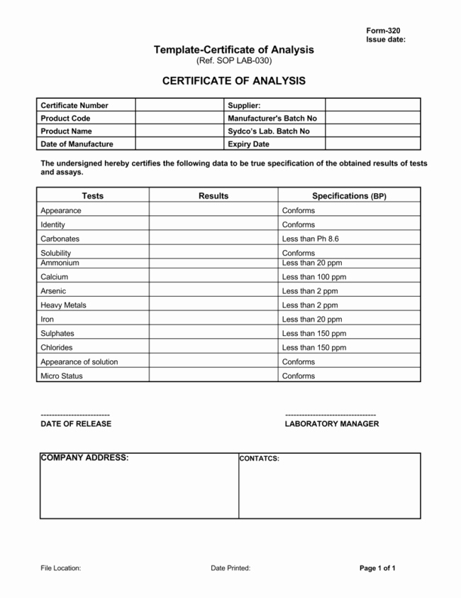 Certificate Of Analysis Template Excel Awesome Certificate Of Analysis Templates 5 Samples for Word