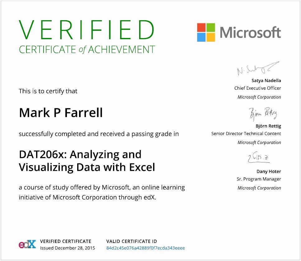 Certificate Of Analysis Template Excel Fresh Certifications Mark P Farrell S E Resume