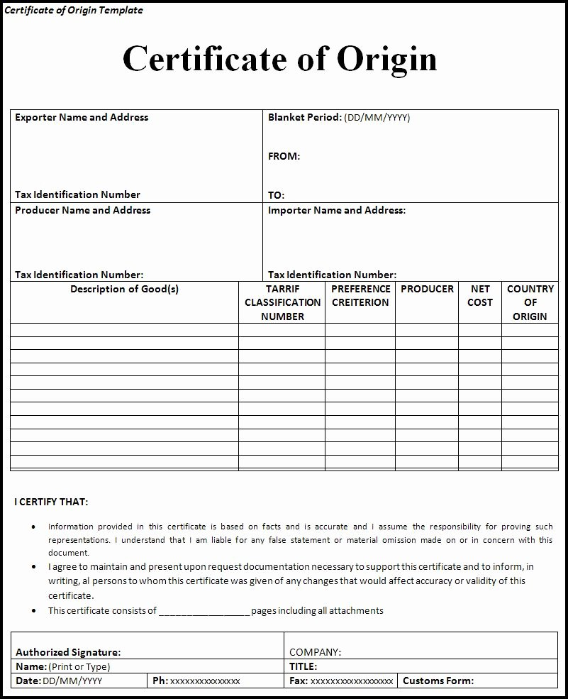 Certificate Of Analysis Template Excel Luxury Certificate Of origin